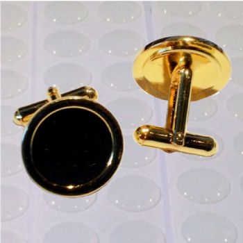 Cufflink Pair Round 16mm gold and clear dome